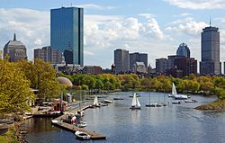 Skyline of Back Bay, seen from the Charles River, featuring Boston's two tallest buildings, the John Hancock Tower (left) and the Prudential Tower (right)