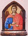 Bottega di duccio di buonisegna, pinnacolo con angelo, da maestà di siena, ante 1331.JPG