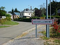 Bouvellemont (Ardennes) city limit sign.JPG