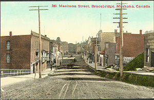 Bracebridge, Ontario - View down Manitoba Street in Bracebridge circa 1910