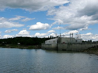 Brazeau River - A control structure at the Brazeau Reservoir