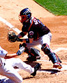 Brian Schneider blocking the plate in May 2008.jpg