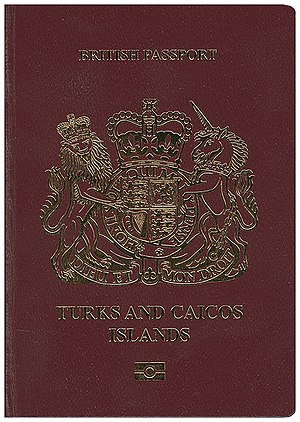 British passport (Turks and Caicos Islands) - The front cover of a biometric Turks and Caicos Islands passport.