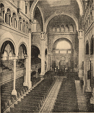 Congregation Emanu-El of New York - Interior of the old (1868) Temple Emanu-El then on 43rd Street and 5th Avenue.