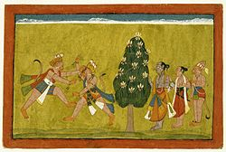 Vali and Sugriva Fighting Page from an illustrated manuscript of the Ramayana Northern India(Punjab Hills, Jammu area), ca. 1700-1710