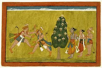 Anegundi - Brooklyn Museum - Vali and Sugriva Fighting Folio from the Dispersed Shangri Ramayana