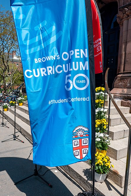 Brown University celebreated the 50th anniversary of their Open Curriculum in 2019 Brown's Open Curriculum banner.jpg