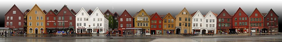 Panorama of the reconstructed Hanseatic buildings of Bryggen, a World Heritage Site