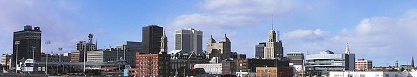 Buffalo, New York from I-190 North entering downtown