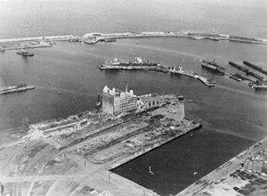 Soviet evacuation of Tallinn - The Port of Tallinn on 1 September 1941 after having been seized by Germans