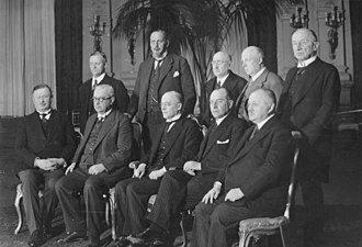 Paul Moldenhauer - Germany's Government under Brüning 31 March 1930: seated from left to right interior minister Joseph Wirth (Zentrum), Ministry of Trade and Industry Hermann Dietrich (DDP), chancellor Brüning, foreign minister Julius Curtius (DVP), postal minister Georg Schätzel (BVP), standing from left to right: minister for Elsass-Lothringen Gottfried Reinhold Treviranus (Konservative Volkspartei), minister for agriculture Martin Schiele (DNVP), minister for justice Johann Viktor Bredt (Wirtschaftspartei), labour minister Adam Stegerwald (Zentrum), minister of finance Paul Moldenhauer (DVP), traffic minister Theodor von Guérard (Zentrum).  Defence minister Wilhelm Groener missing from picture
