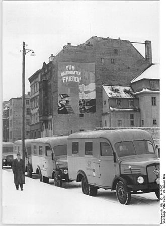 Deutsche Post of the GDR - New post office vans in 1952