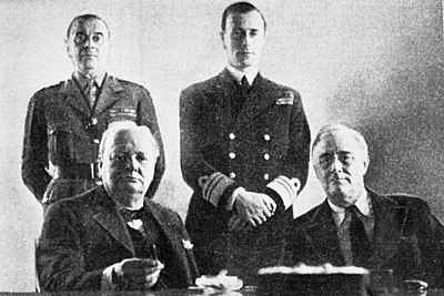 Ismay (top left) with Roosevelt, Churchill and Admiral Mountbatten at the Casablanca Conference