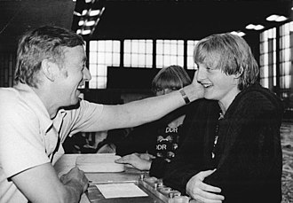 Birgit Meineke - Meineke with coach Rolf Gläser in 1981