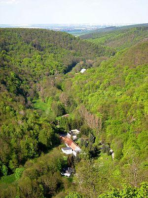 Falkenstein, Saxony-Anhalt - View from Falkenstein Castle down the Selke valley