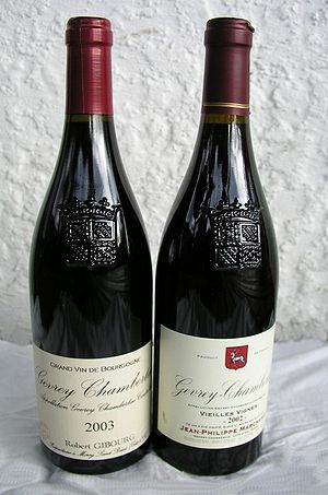 Burgundy (color) - Two bottles of red Burgundy wine from Gevrey-Chambertin, Côtes de Nuits