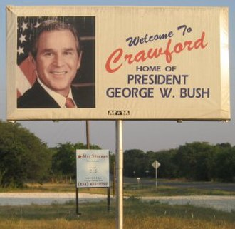 Crawford, Texas - A billboard just outside Crawford.