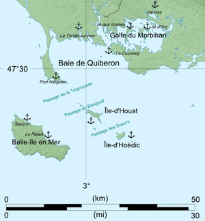 Quiberon Bay - Map of Quiberon Bay