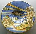 C.sf., urbino, francesco xanto avelli, tondino con allegoria della buona e cattiva fama, 1531.JPG