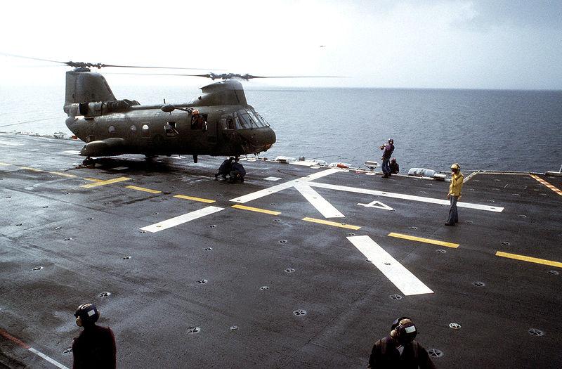 File:CH-46 on USS Guam (LPH-9) off Grenada 1983.JPEG