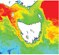 CSIRO ScienceImage 10719 NOAA polar orbiting satellites obtain the data generating sea surface temperature images This is a composite 15day image showing the extension of the Leeuwin Current around Tasmania.jpg