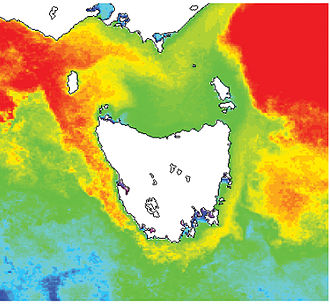 Leeuwin Current - CSIRO  NOAA polar orbiting satellites obtain the data generating sea surface temperature images. (Composite 15-day image showing the extension of the Leeuwin Current around Tasmania)
