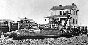 CSS David - Photograph of a captured David-class torpedo boat (possibly CSS David herself), taken after the fall of Charleston in 1865