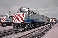 """CalTrain 916 named """"California"""" waiting its turn at the 4th & Townsend station in San Francisco, CA in October 1985 (30591257451).jpg"""