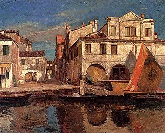 Chioggia - Canal scene in late 19th Century Chioggia, by Gustav Bauernfeind.