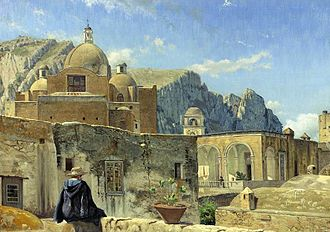 Vilhelm Kyhn - Young Boy Seated on a Wall Overlooking Capri, one of Kyhn's relatively few paintings from his travels