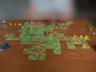 Carcassonne (board game) - Carcassonne with several expansions simultaneously.