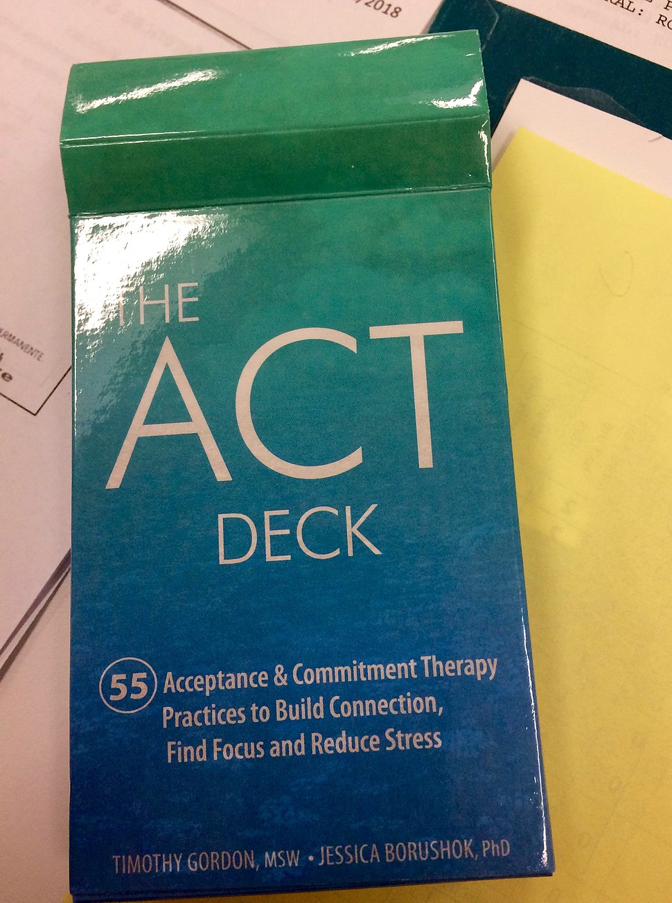 Cards used as a therapeutic activity in ACT treatment