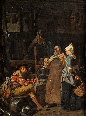 Bladesmith - At the Bladesmith's, by Carl von Häberlin (1879)