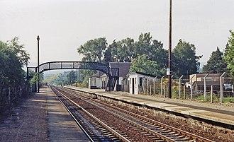 Carrbridge railway station - Image: Carr Bridge station up geograph 3101469 by Ben Brooksbank