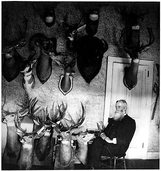 Edwin Carter - Edwin Carter in his Log Cabin Naturalist Museum (Circa 1875)