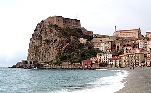 Scylla - The Rock of Scilla, Calabria, which is said to be the home of Scylla.
