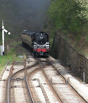 Catch points - Trap points and a sand drag protect the exit of a station passing loop (left), while catch points stop vehicles from running away down a steep slope (right). Picture of Goathland Station passing loop, with the line coming from Grosmont and Whitby.