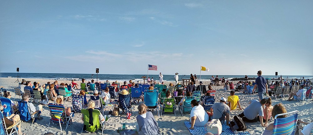 A Catholic beach Mass held in Long Beach, New York. Catholic Beach Mass Long Beach New York.jpg