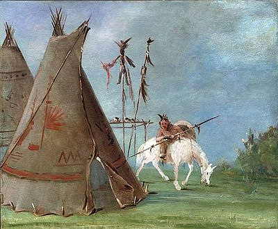 Comanche tipis and a mounted warrior. By George Catlin, 1835