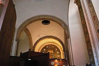 San Pedro y San Pablo College, Mexico City - Church's 1920s ceiling fresco by Xavier Guerrero.