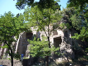 Temple of Claudius - View of the temple from via Claudia
