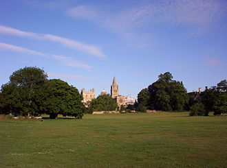 Christ Church Meadow, Oxford - View from the meadow, looking across the Merton Field sports fields towards Christ Church Cathedral.