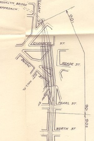 BMT Nassau Street Line - 1908 plan for Chambers Street and the Brooklyn Bridge connection