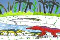 Champsosaurus and Simoedosaurus JWArtwork.png
