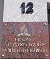Chapel of the Seventh Day Adventist Church, sign, 2017 Nyíregyháza.jpg