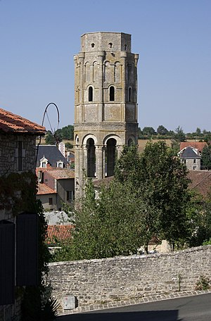 Charroux Abbey - Charlemagne tower seen from the church