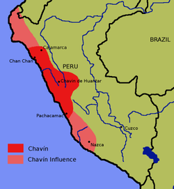 The area of the Chavín culture, as well as areas the Chavín culture influenced.