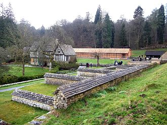 Chedworth Roman Villa - Chedworth Roman Villa showing the north-wing (foreground), and the west-wing cover building (background)