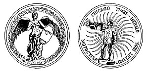 Chicago Times-Herald race - Drawing of the medal designed for the winner of the Chicago Times-Herald Race Medal in 1895.
