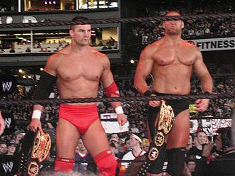 Lance Storm - Storm (left) and Chief Morley (right) as the World Tag Team Champions.
